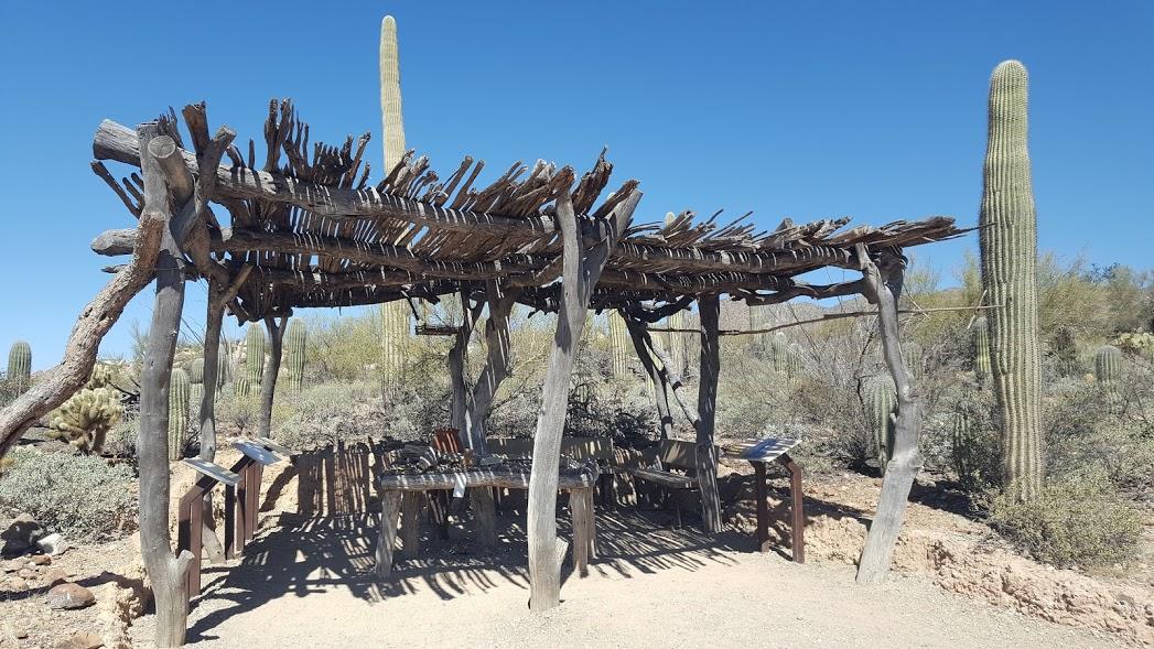 Ramada dans le sentier du désert au Arizona-Sonora Desert Museum. Les ramadas sont des structures de bois installées dans le désert pour fournir un peu d'ombre aux passants.