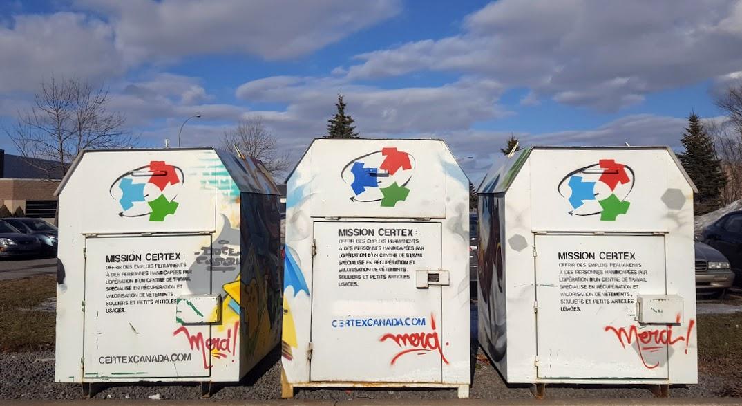 Vêtements usés, recyclage, boîtes de dons Certex